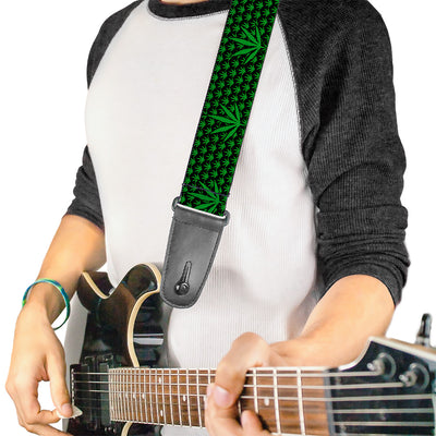 Guitar Strap - Marijuana Garden Black/Green