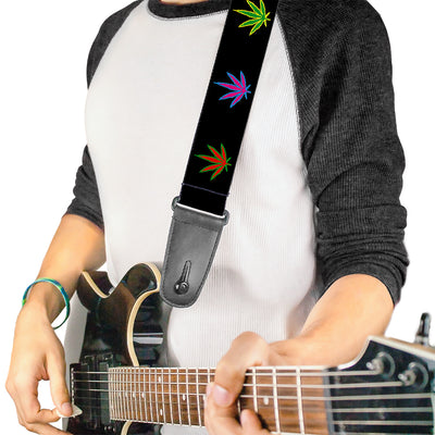Guitar Strap - Marijuana Leaf Repeat Black/Multi Color