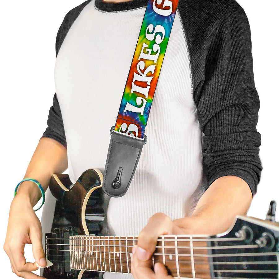 Guitar Strap - ONE OF US LIKES GRASS/Tie Dye Multi Color/White