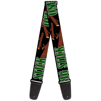Guitar Strap - ONE OF US LIKES BIG STICKS/Sticks Black/Brown/Green