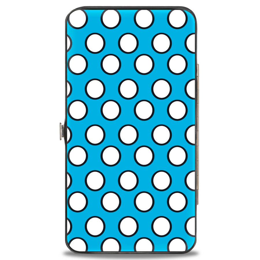 Hinged Wallet - Minnie Style Smiling Pose + Dots Blue/Black/White