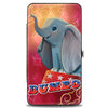 Hinged Wallet - DUMBO Circus Stand Pose Diamonds Yellow Pink Gradient