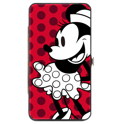 Hinged Wallet - Vintage Minnie Smiling Pose Front + Back Views Dots Reds/Black/White