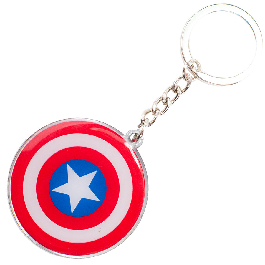 Keychain Stamped Metal - Captain America Metal Shield Red/White/Blue/White