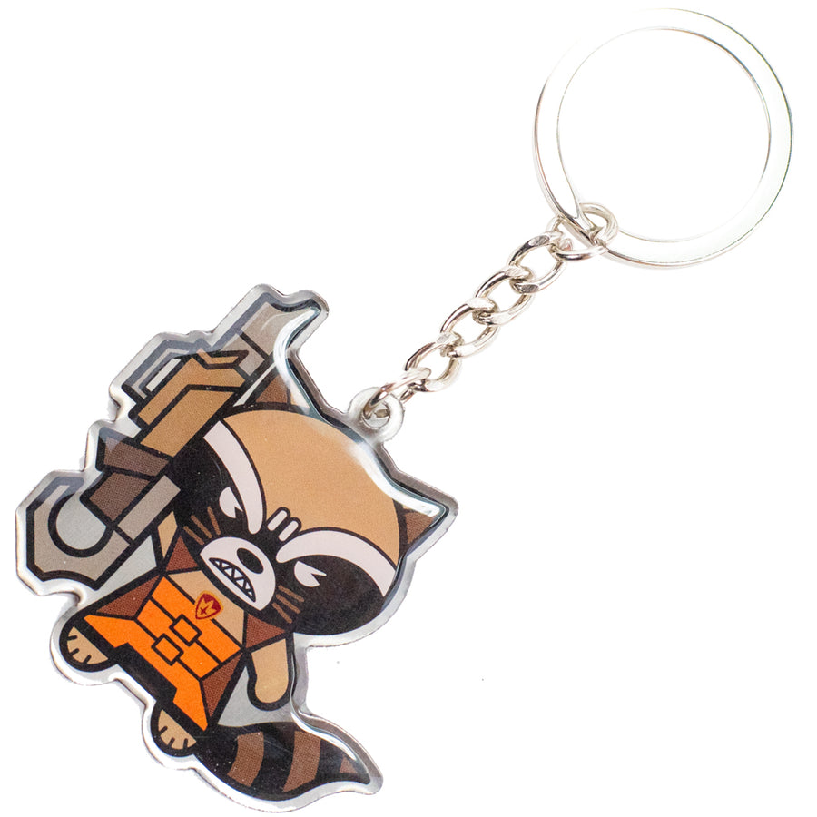 Keychain Stamped Metal - Kawaii Rocket Raccoon Angry Pose