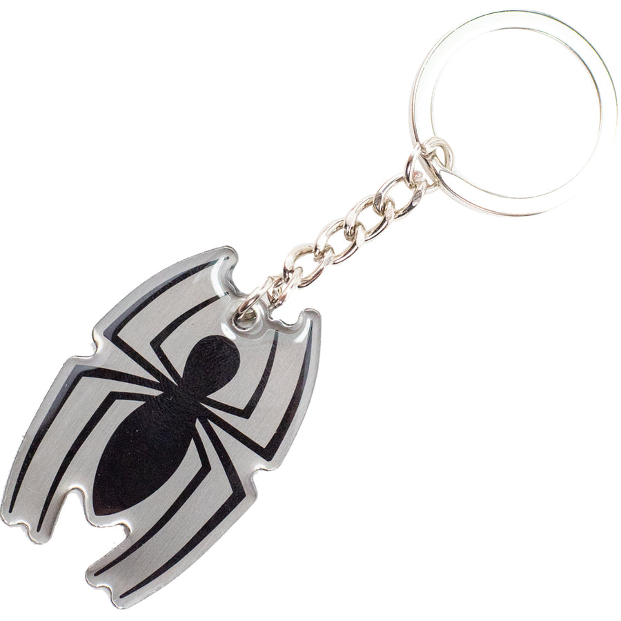 Keychain Stamped Metal - Spider-Man Spider Logo Gray/Black