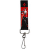 "Key Fob - 1.0"" - Harley Quin Standing Pose/Diamonds Black/Red"