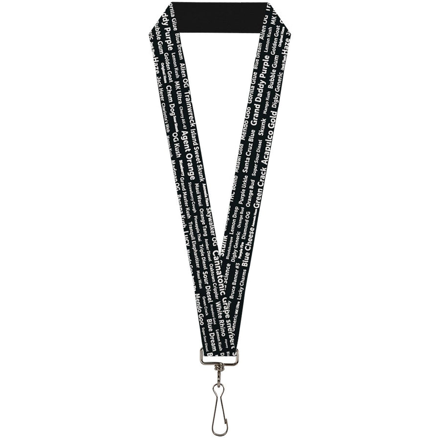 Buckle-Down Lanyard - Verbiage Marijuana Strains Black/White