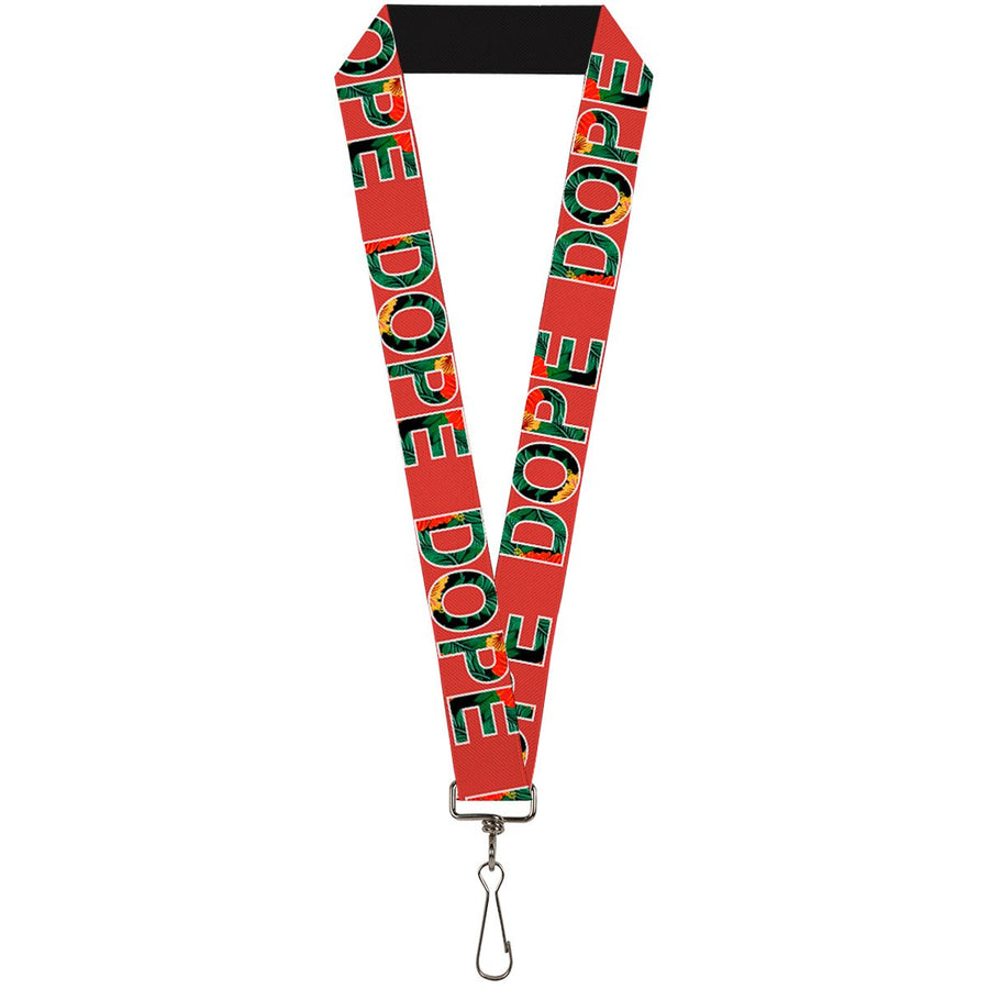 Buckle-Down Lanyard - DOPE Red/Black/Tropical Flowers
