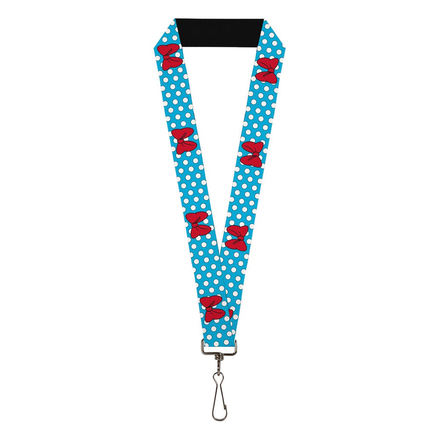 "Lanyard - 1.0"" - Minnie Mouse Bows/Dots Blue/Black/White/Red"