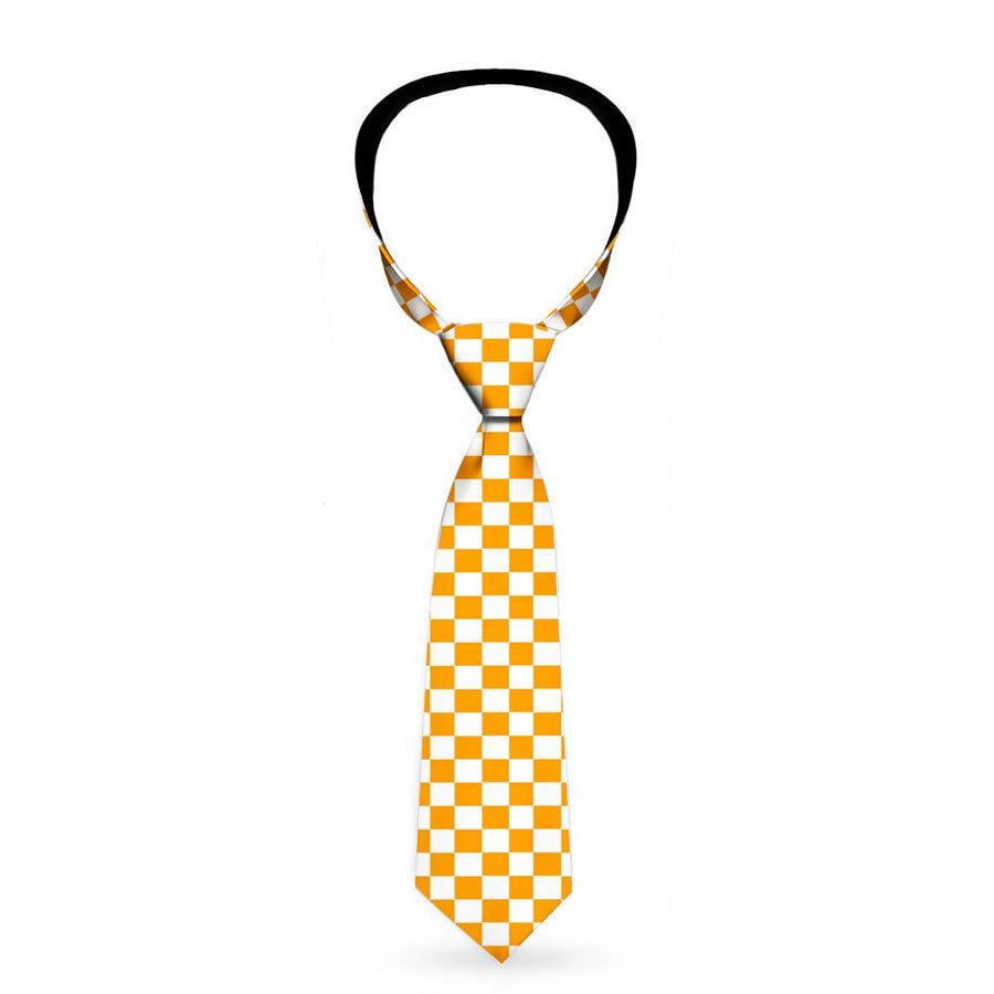 Buckle-Down Necktie - Checker White/TN Orange