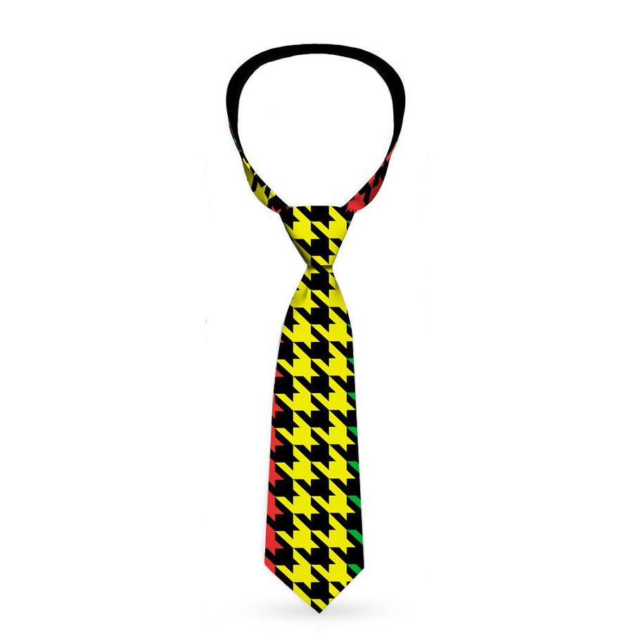 Buckle-Down Necktie - Houndstooth Black/Rasta