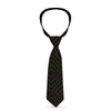 Buckle-Down Necktie - Square Lines Black/Greens/Pinks