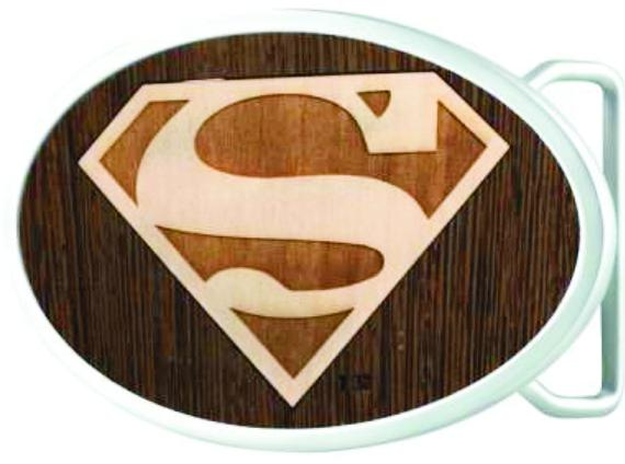 Superman Logo Framed Marquetry Black Walnut/Maple - Chrome Oval Rock Star Buckle