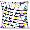 Buckle-Down Throw Pillow - Music Notes Stars White/Black/Multi Color