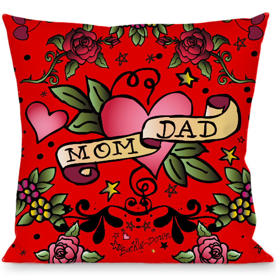 Buckle-Down Throw Pillow - Mom & Dad Red