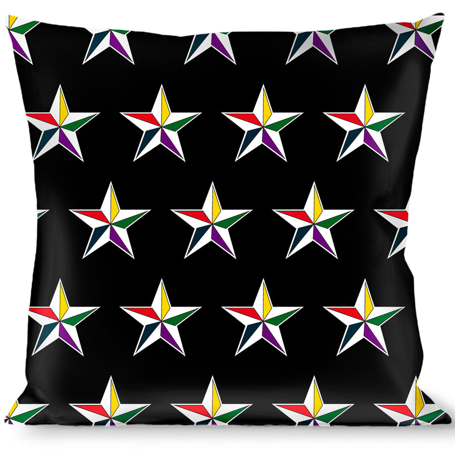 Buckle-Down Throw Pillow - Nautical Star Black/White/Multi Color