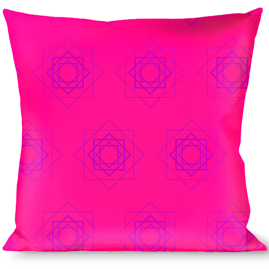 Buckle-Down Throw Pillow - Rotating Squares Pink/Purple