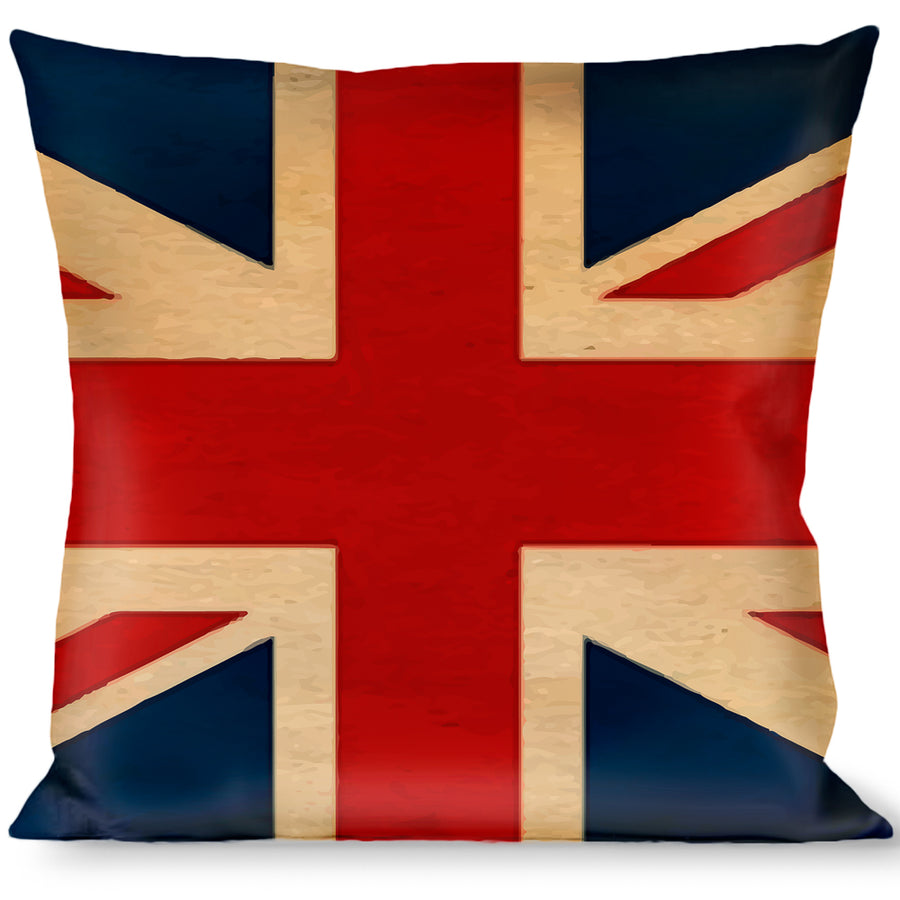 Buckle-Down Throw Pillow - United Kingdom Flags Vintage Black