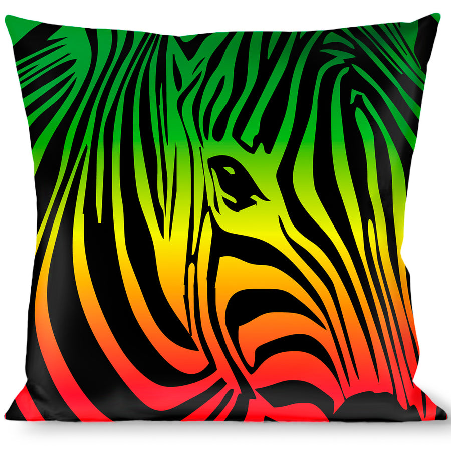 Multicolor Buckle Down Zebra 2 Baby Pink Throw Pillow