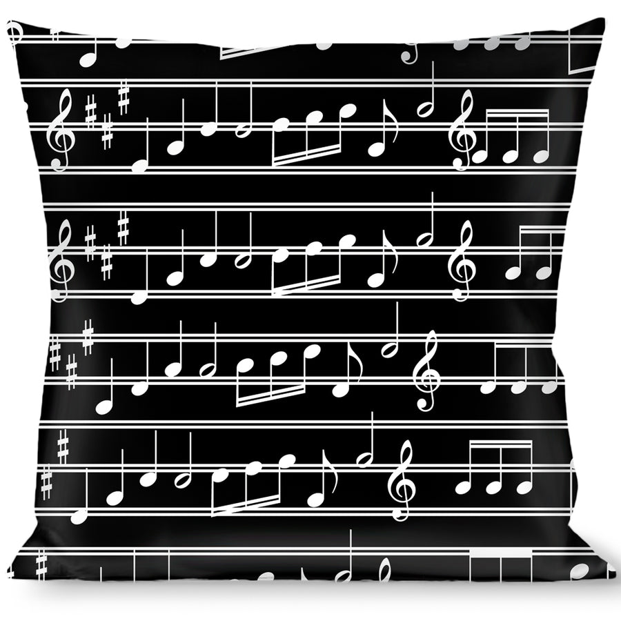 Buckle-Down Throw Pillow - Music Notes Black/White