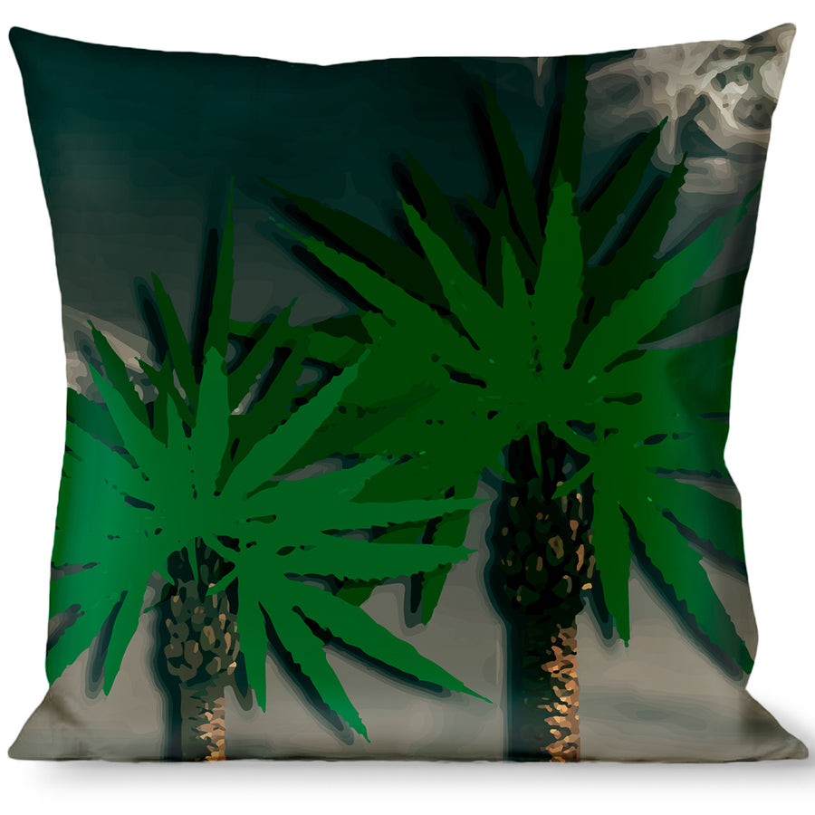 Buckle-Down Throw Pillow - Marijuana Palm Trees/Clouds