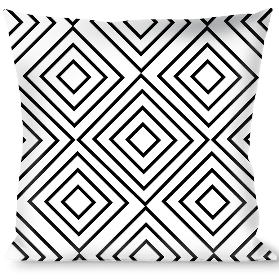 Buckle-Down Throw Pillow - Square Lines White/Black