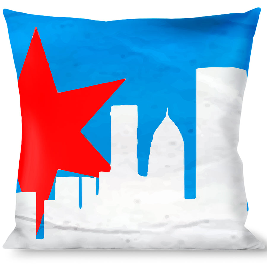 Buckle-Down Throw Pillow - Chicago Skyline/Flag Distressed Black/White/Red