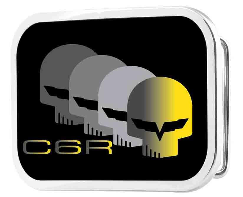 C6 Racing w/Skull Repeat FCG Black/Yellow/Silver - Chrome Rock Star Buckle