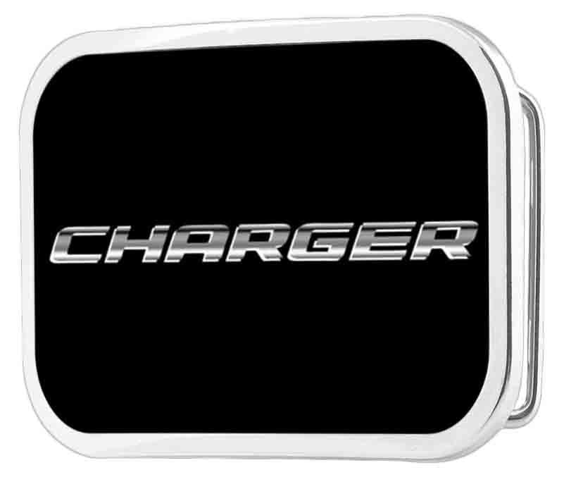 CHARGER Text Framed FCG Black/Silver-Fade - Chrome Rock Star Buckle