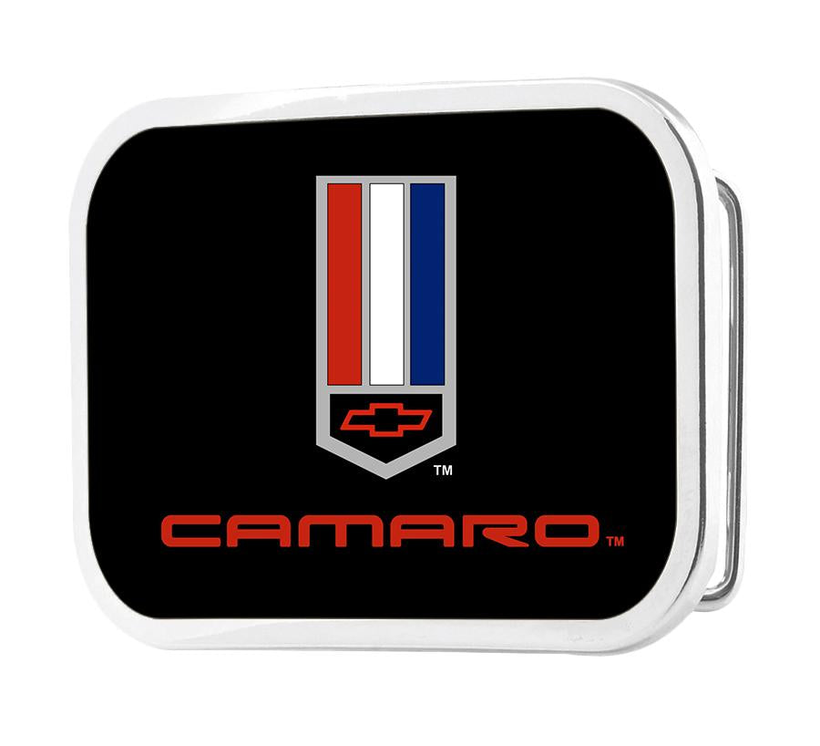 Camaro Badge Framed FCG Black/Red/White/Blue - Chrome Rock Star Buckle