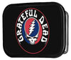 Grateful Dead Text w/Steal Your Face FCG - Black Rock Star Buckle