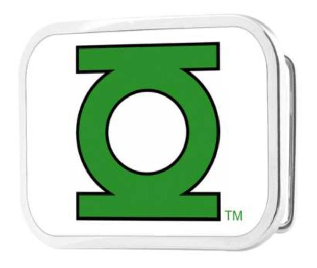 Green Lantern Logo CLOSE-UP FCG White/Green - Chrome Rock Star Buckle