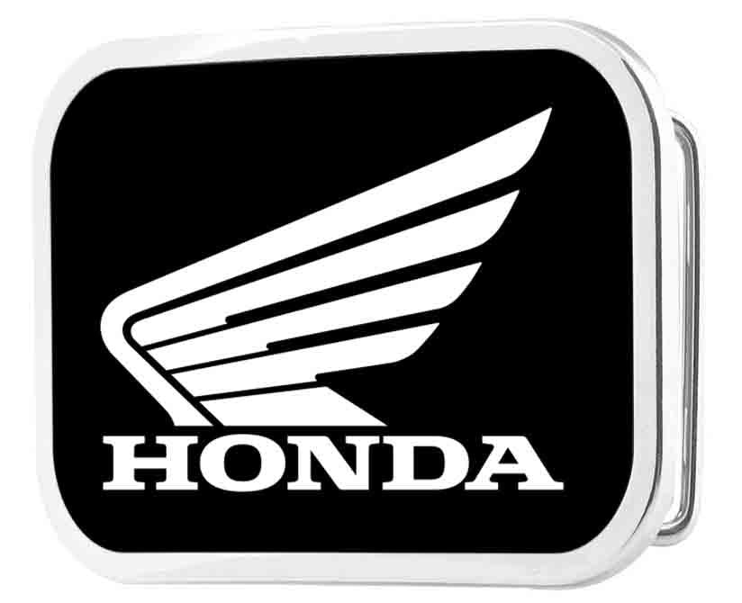 HONDA Motorcycle Framed FCG Black/White - Chrome Rock Star Buckle