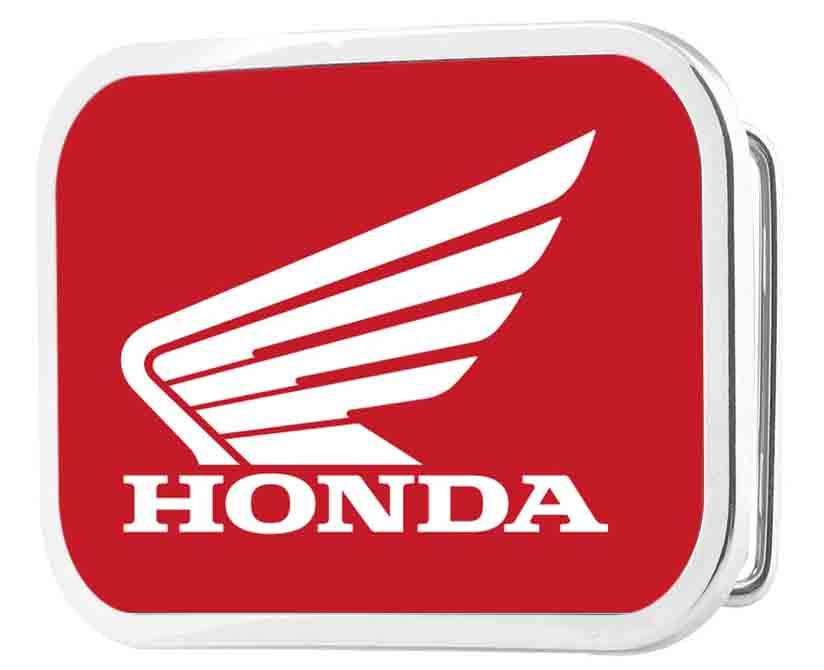 HONDA Motorcycle Framed FCG Red/White - Chrome Rock Star Buckle