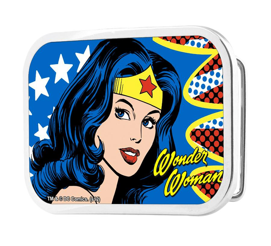 Wonder Woman Face w/Stars Framed FCG - Chrome Rock Star Buckle