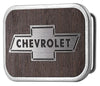 Chevy Bowtie Framed Marquetry Black Walnut/Metal - Matte Rock Star Buckle