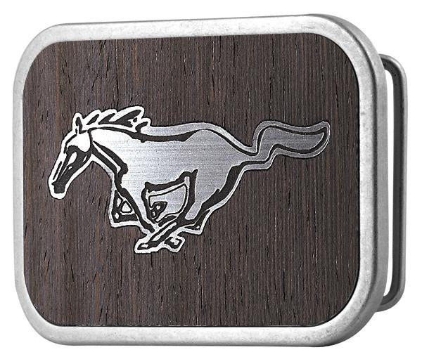 Ford Mustang Framed Marquetry Black Walnut/Metal - Matte Rock Star Buckle