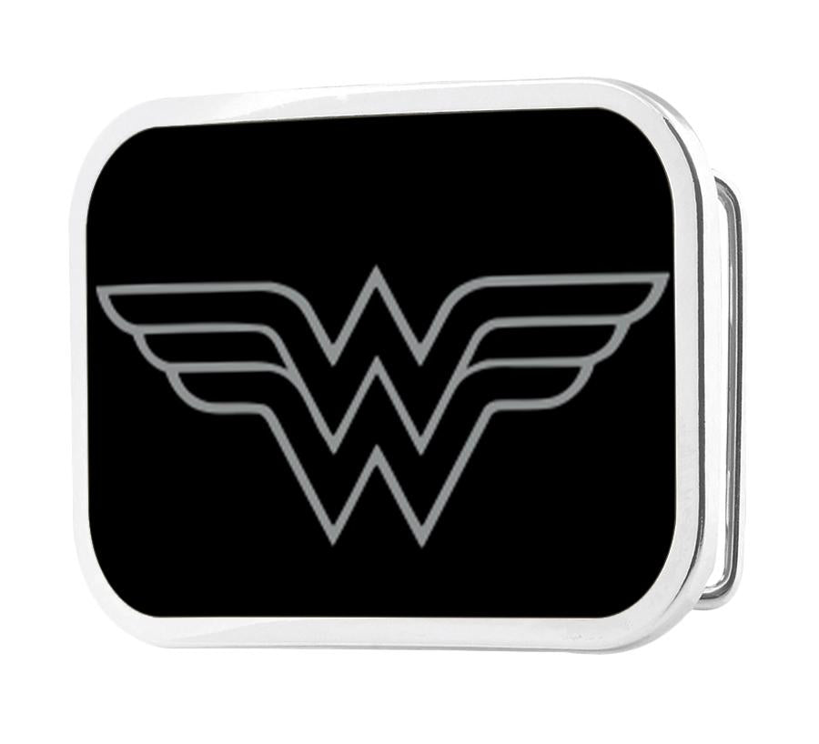 Wonder Woman Logo Framed Reverse Brushed - Chrome Rock Star Buckle