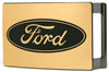 Ford Oval Rock Star Buckle - Brushed Gold/Black