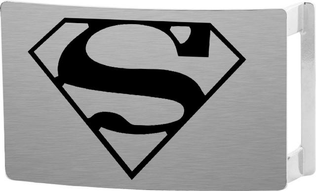 Superman Rock Star Buckle - Brushed Silver/Black