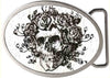 Skull & Roses GW White - Matte Oval Rock Star Buckle