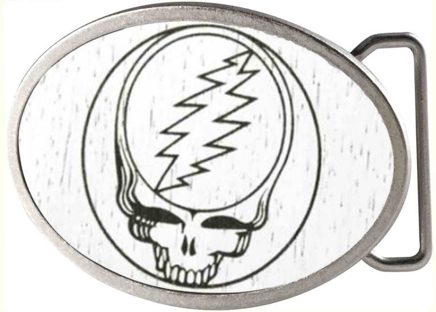 Steal Your Face GW White - Matte Oval Rock Star Buckle