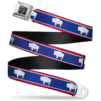 BD Wings Logo CLOSE-UP Full Color Black Silver Seatbelt Belt - Wyoming Flags Bison Silhouette Webbing