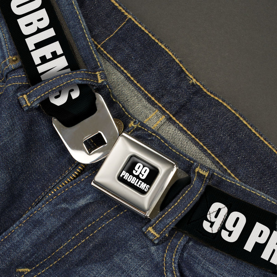 Buckle-Down 99 PROBLEMS Full Color Black/White Seatbelt Belt - 99 PROBLEMS Black/White Webbing