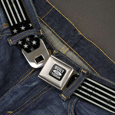 Built Ford Tough Seatbelt Belt - Americana Stars & Stripes2 Weathered Black/Gray
