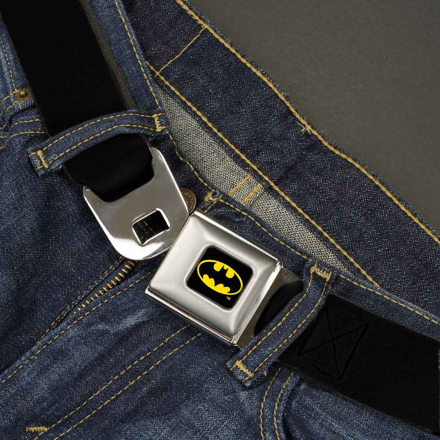 Batman Full Color Black/Yellow Seatbelt Belt - Black Webbing