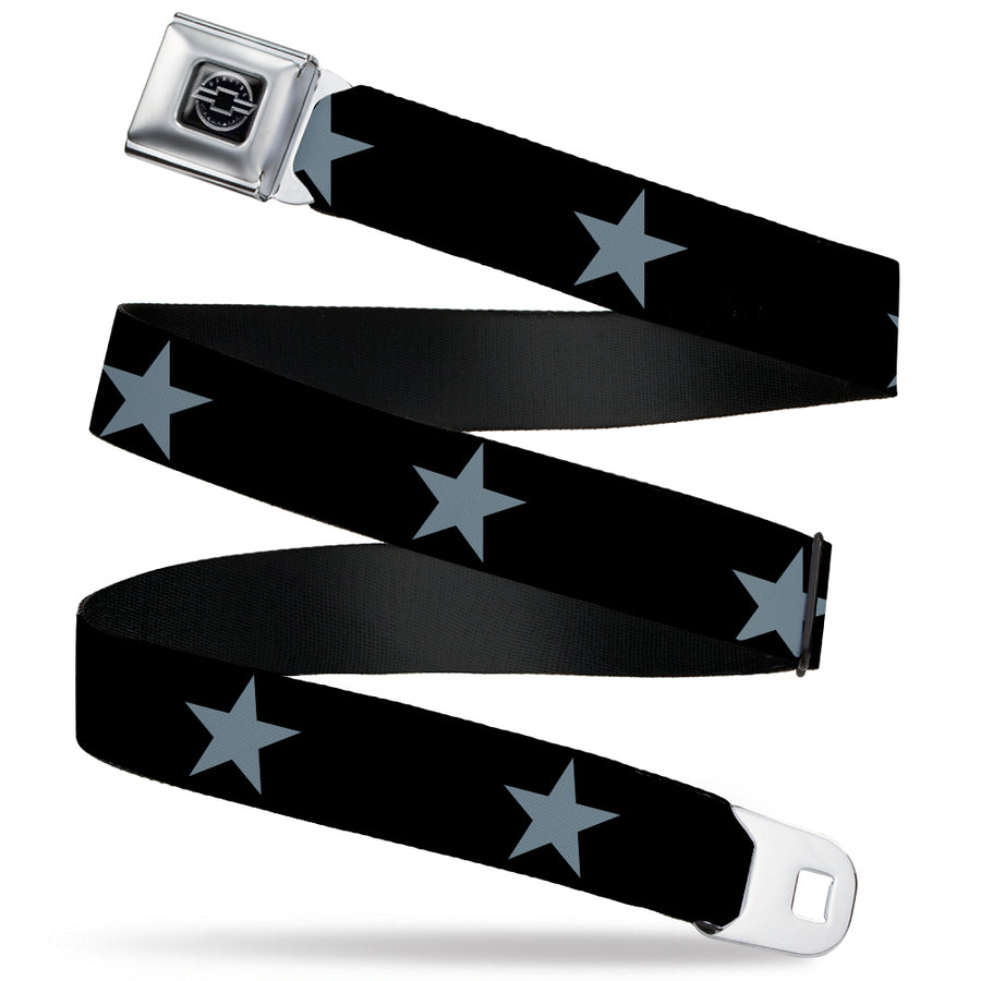 Chevy Seatbelt Belt - Star Black/Silver Webbing
