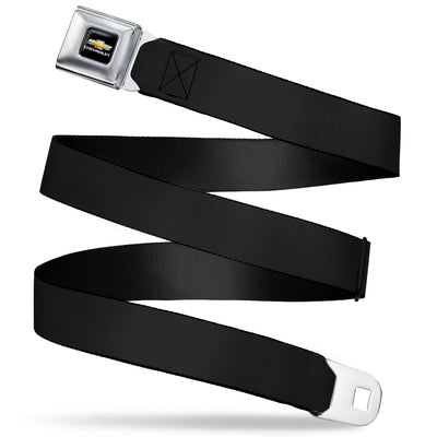 Chevy Bowtie Full Color Black/Gold Seatbelt Belt - Black Webbing