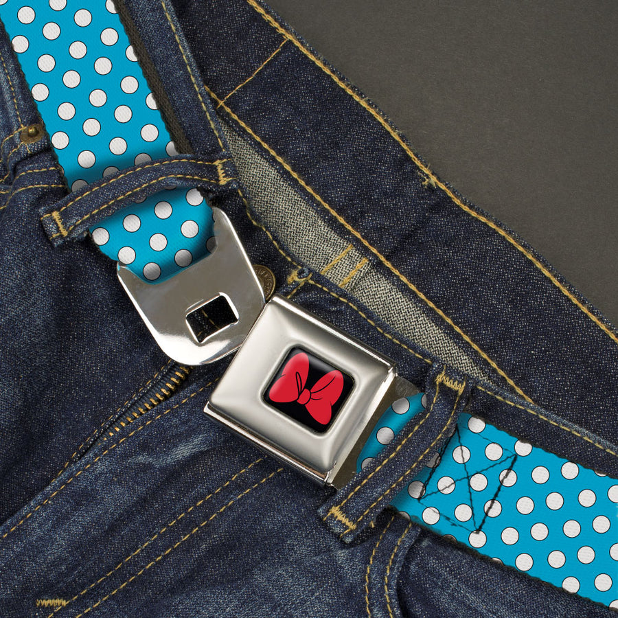 Minnie Mouse Bow Full Color Black/Red Seatbelt Belt - Minnie Mouse Dots Blue/Black/White Webbing